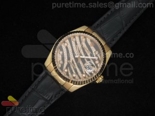 DateJust Royal Black RG on Black Croco Leather Strap