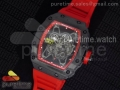 RM 035 Forge Carbon Red Inner Bezel Skeleton Dial on Red Rubber Strap MIYOTA9015