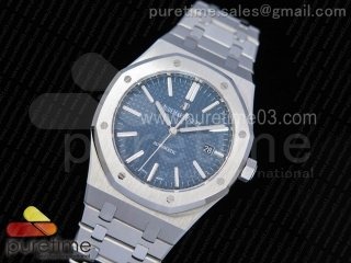 Royal Oak 41mm 15400 SS JF 1:1 Best Edition Blue Textured Dial on SS Bracelet A3120 V3