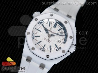 Royal Oak Offshore Diver Real White Ceramic XF Best Edition on White Rubber Strap A3120