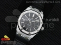Royal Oak 41mm 15400 Lite Full Paved Diamonds Black Dial on Black Leather Strap A3120