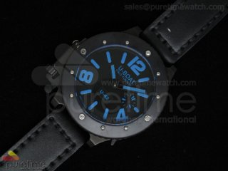 U42 PVD Black Dial Blue Mark on Black Leather Strap 52mm A6497