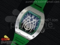 RM 19-01 Tourbillon SS Skeleton Spider Dial on Green Rubber Strap 6T51