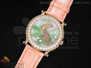 Happy Sports 150th Anniversary Animal World 42mm RG Toucan Dial on Pink Leather Strap Ronda Quartz