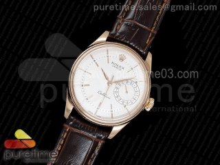 Cellini Date 50515 RG White Dial Sticks Markers on Brown Leather Strap A3165