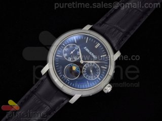 Jules Audemars Moonphase Calender SS Black Dial on Black Leather Strap A23J