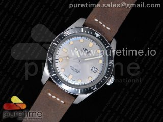 Divers 7720 SS ZZF 1:1 Best Edition Sliver Gray Dial on Brown Leather Strap A2836