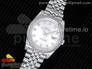 DateJust 41 126334 Noob 1:1 Best Edition Fluted Bezel Silver Dial Diamonds Markers on SS Jubilee Bracelet A3235