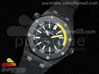 Royal Oak Offshore Diver Forged Carbon XF 1:1 Best Edition on Rubber Strap A2824 V2