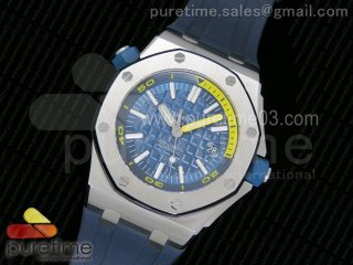 Royal Oak Offshore Diver 2017 Blue 15710 JF 1:1 Best Edition on XS Rubber Strap A3120 (Free Rubber Strap)