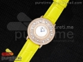 Happy Sport Diamonds RG White MOP Dial on Yellow Leather Strap Swiss Quartz