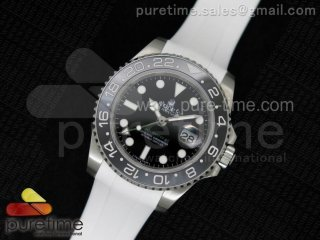 GMT-Master II 116710 LN Black Ceramic 1:1 Noob Best Edition on White Rubber Strap A2836