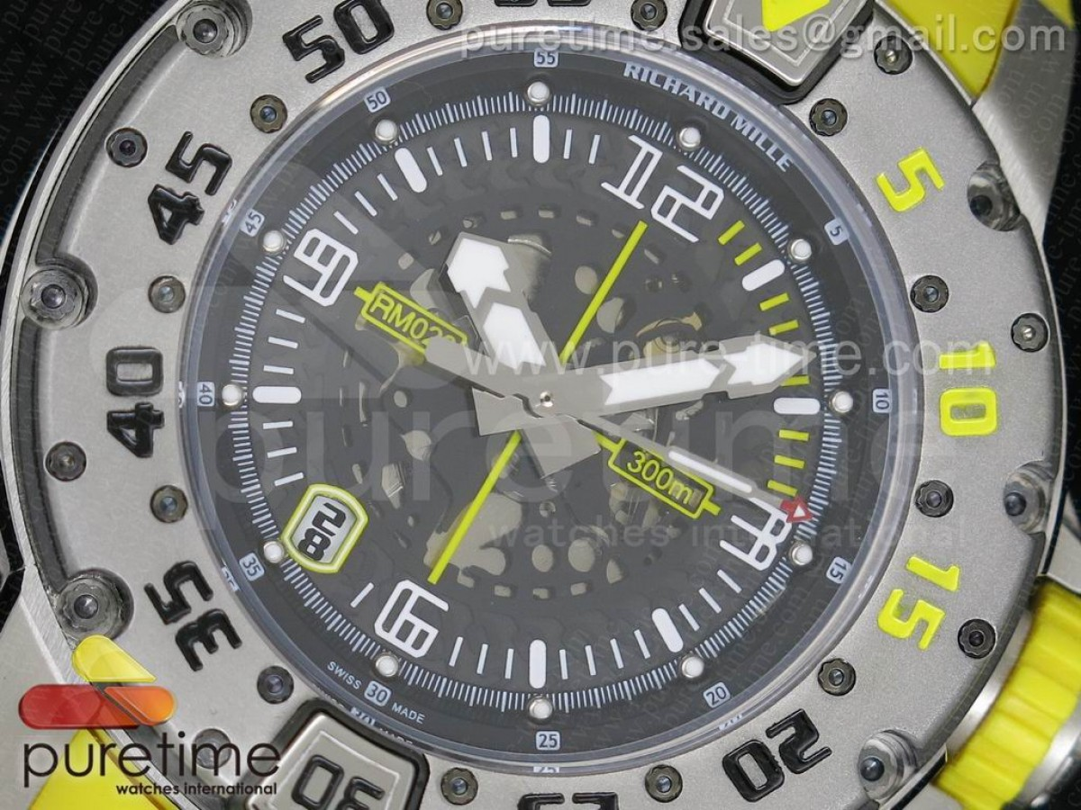 RM028 47mm RMF SS Yellow Black Skeleton Dial on Yellow Rubber Strap A7750