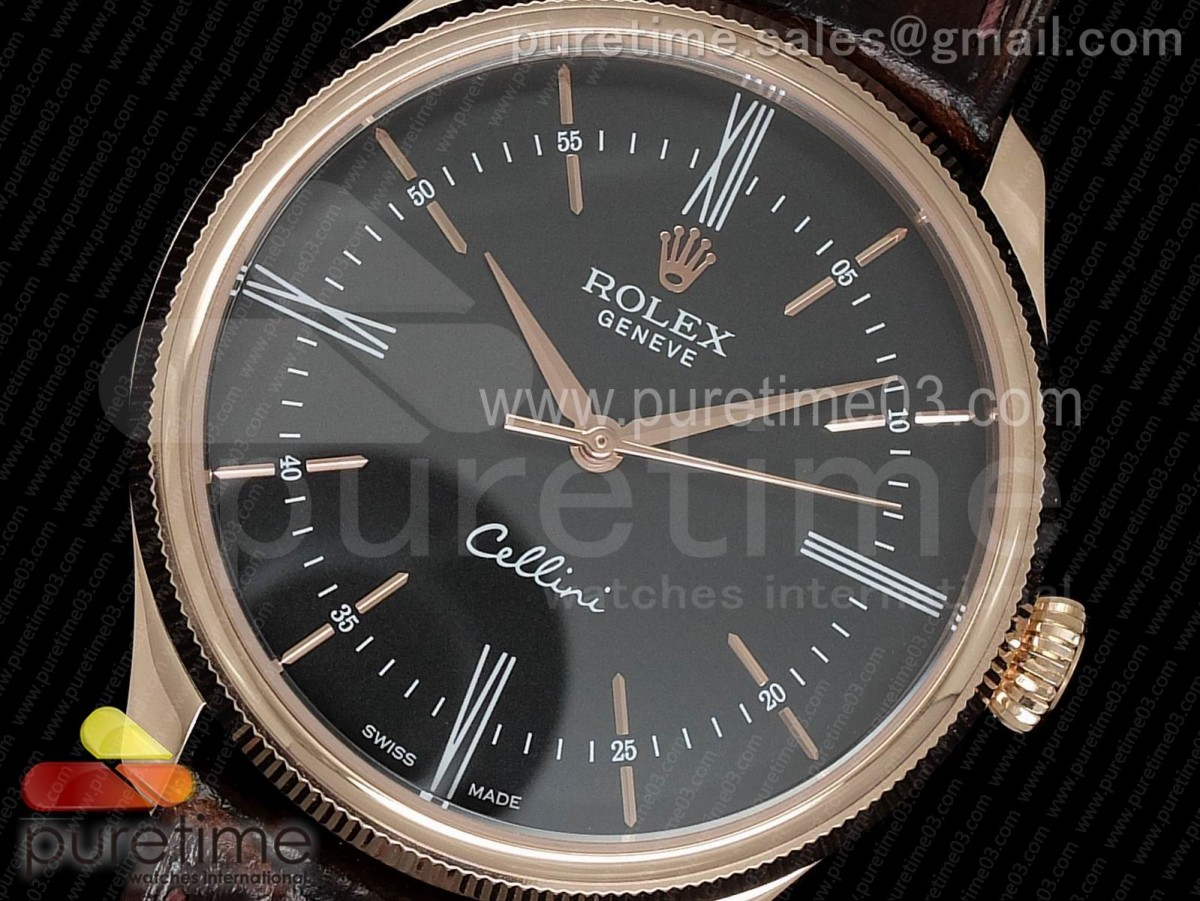 Cellini Time 50505 RG MKF Best Edition Black Dial on Brown Leather Strap A3165 V3