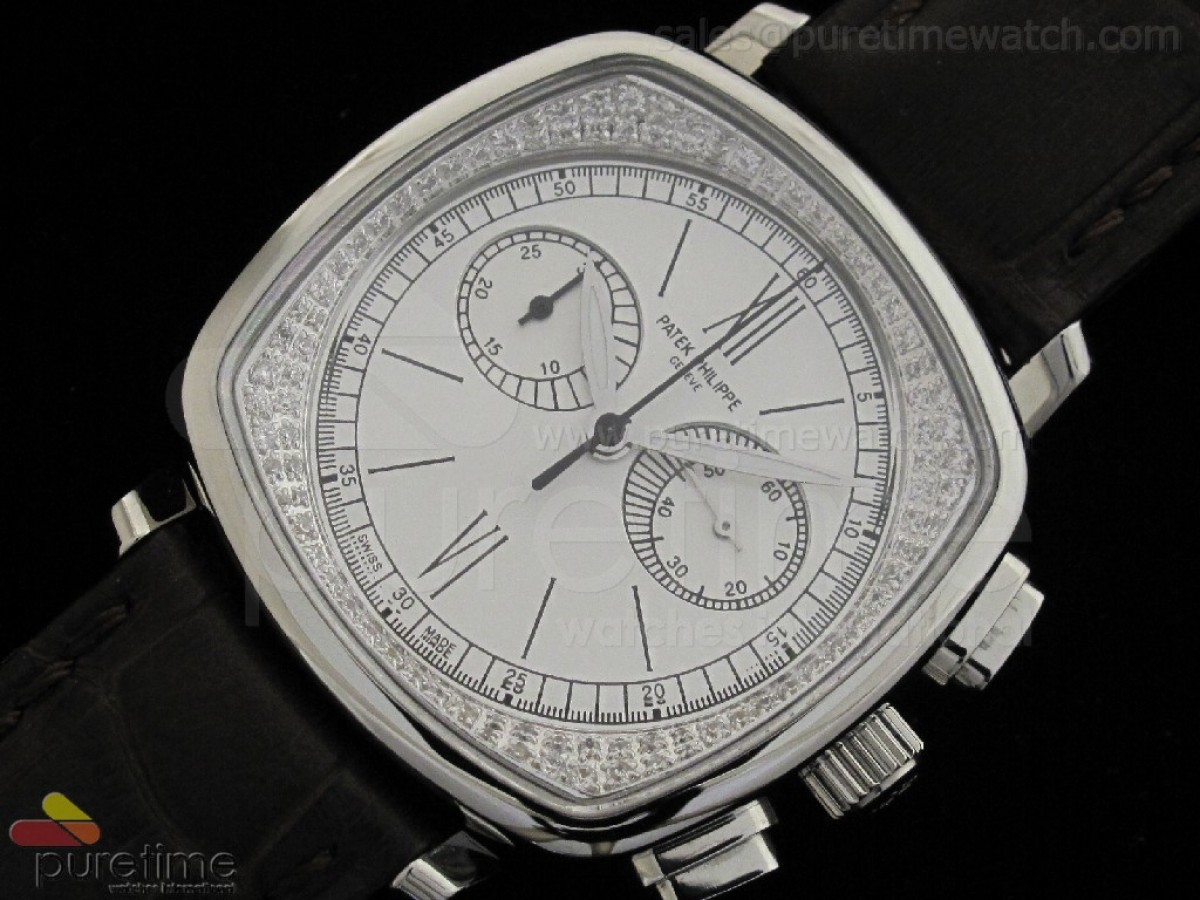 Ladies Complicated Watches 7071 SS Quartz White on Black Strap