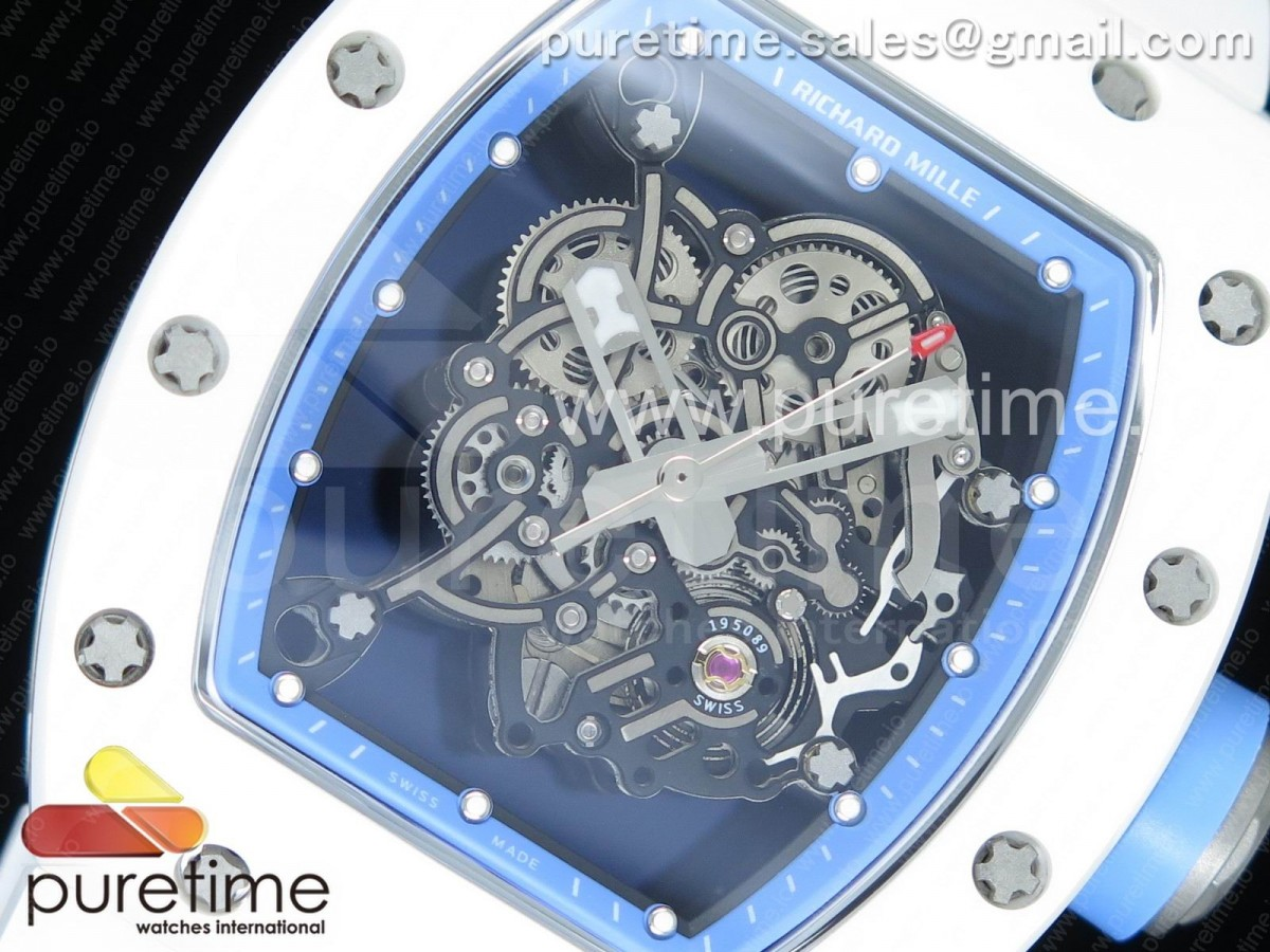 RM055 Real White Ceramic Case KVF Best Edition Blue Inner Bezel Skeleton Dial Blue on White Rubber Strap MIYOTA8215 V2