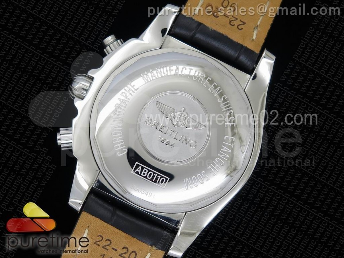 Chronomat B01 SS Black Dial White Inner Bezel on Black Leather Strap A7750