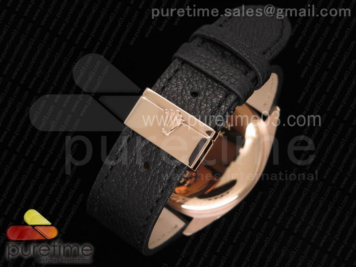 Cellini Danaos 4243 RG Black/White Dial on Black Leather Strap A2824