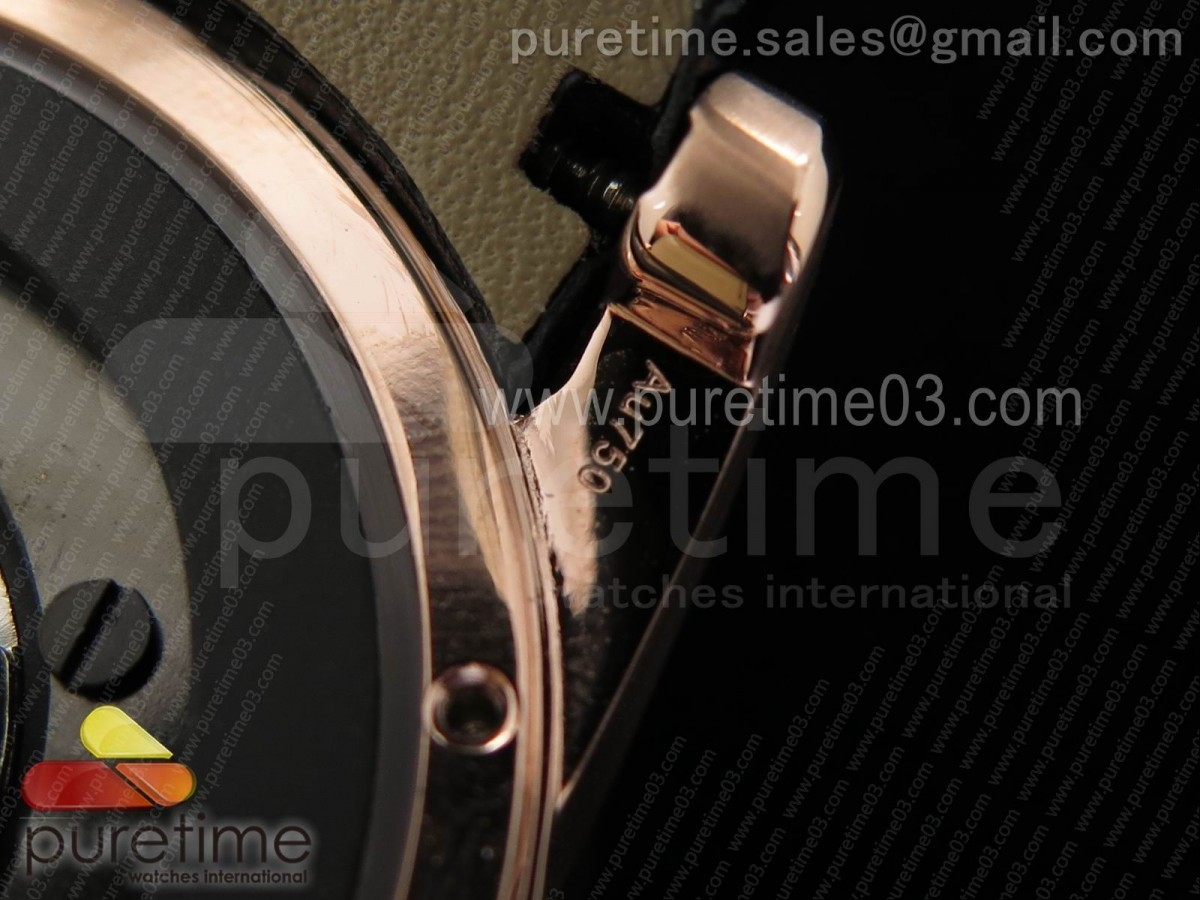 Excalibur Knights of the Round Table II RG Checkerboard Dial on Black Leather Strap MIYOTA 6T15