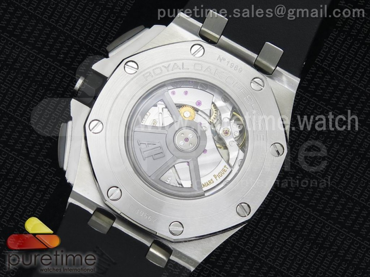 Royal Oak Offshore 44mm SS Lite Black/Silver Dial on Black Rubber Strap A3126