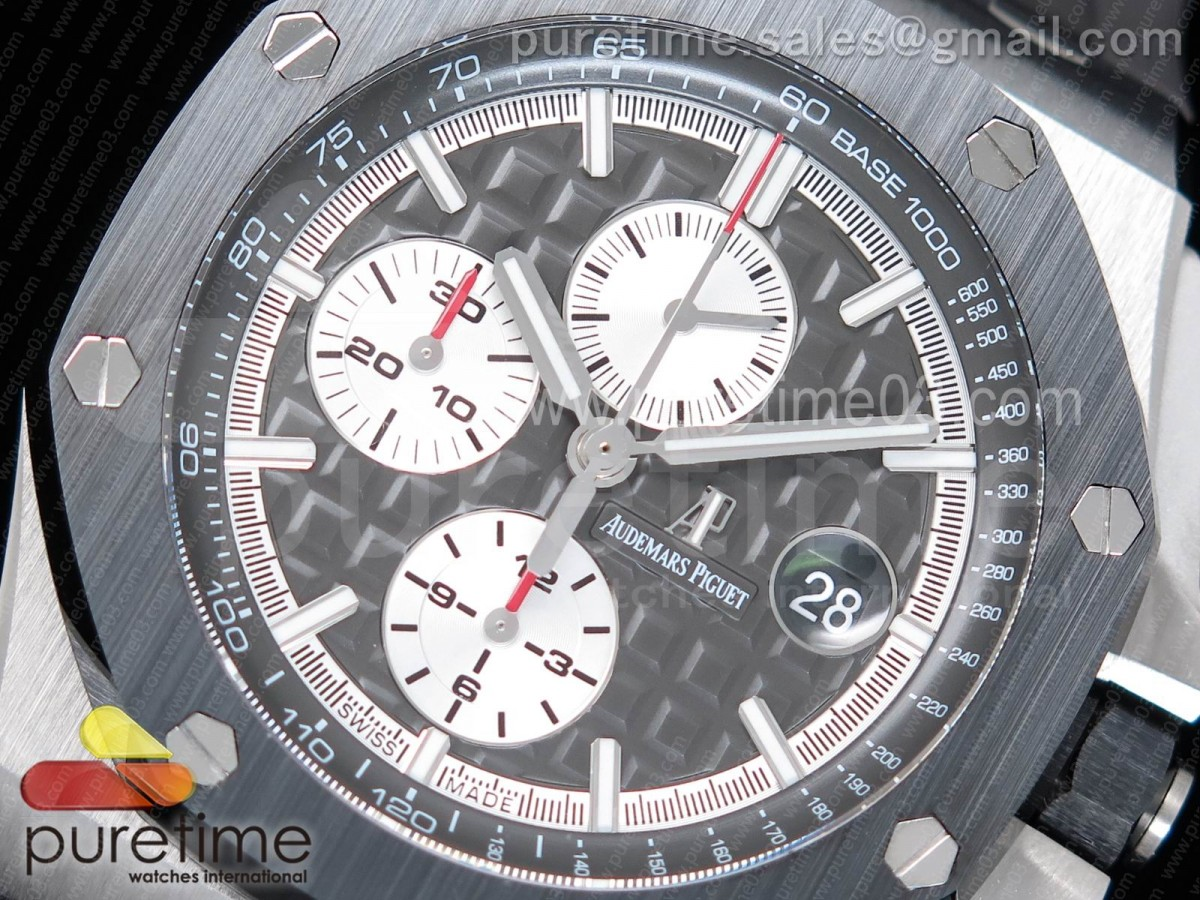 Royal Oak Offshore 2017 44mm Titanium JF 1:1 Best Edition Gray Dial on XS Rubber Strap A3126 (Free Rubber Strap)